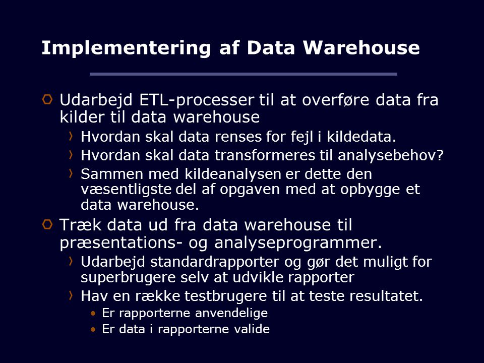 Implementering af Data Warehouse