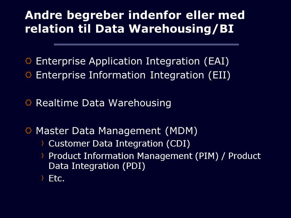 Andre begreber indenfor eller med relation til Data Warehousing/BI