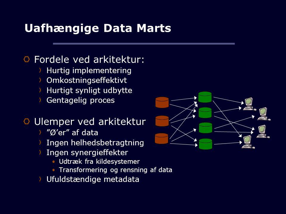 Uafhængige Data Marts Fordele ved arkitektur: Ulemper ved arkitektur
