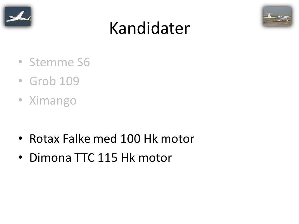 Kandidater Stemme S6 Grob 109 Ximango Rotax Falke med 100 Hk motor