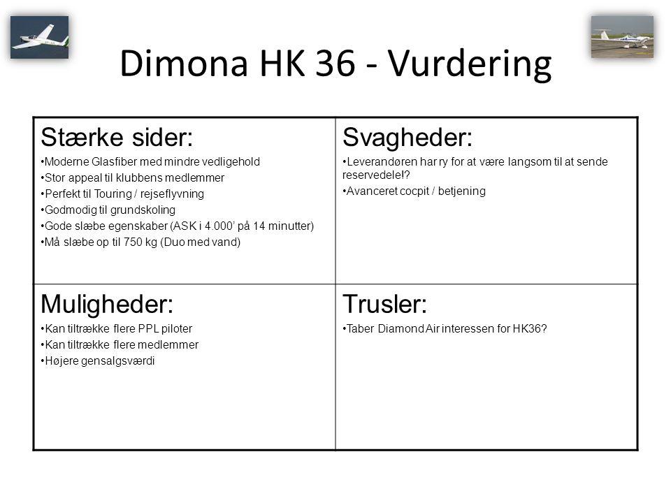 Dimona HK 36 - Vurdering Stærke sider: Svagheder: Muligheder: Trusler: