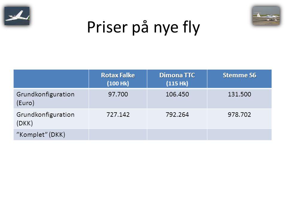 Priser på nye fly Rotax Falke Dimona TTC Stemme S6