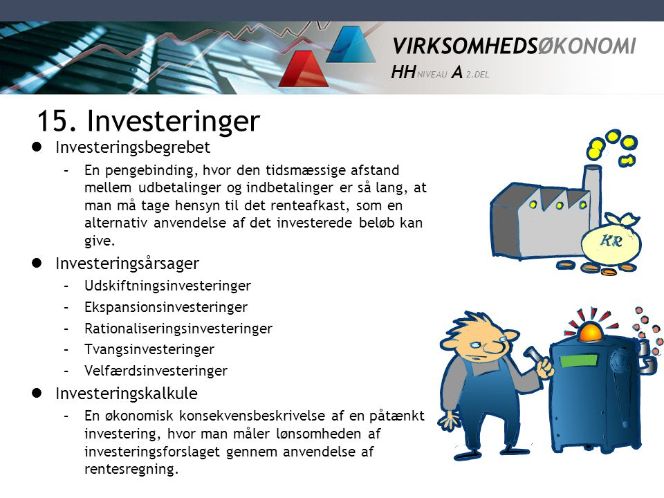 15. Investeringer Investeringsbegrebet Investeringsårsager