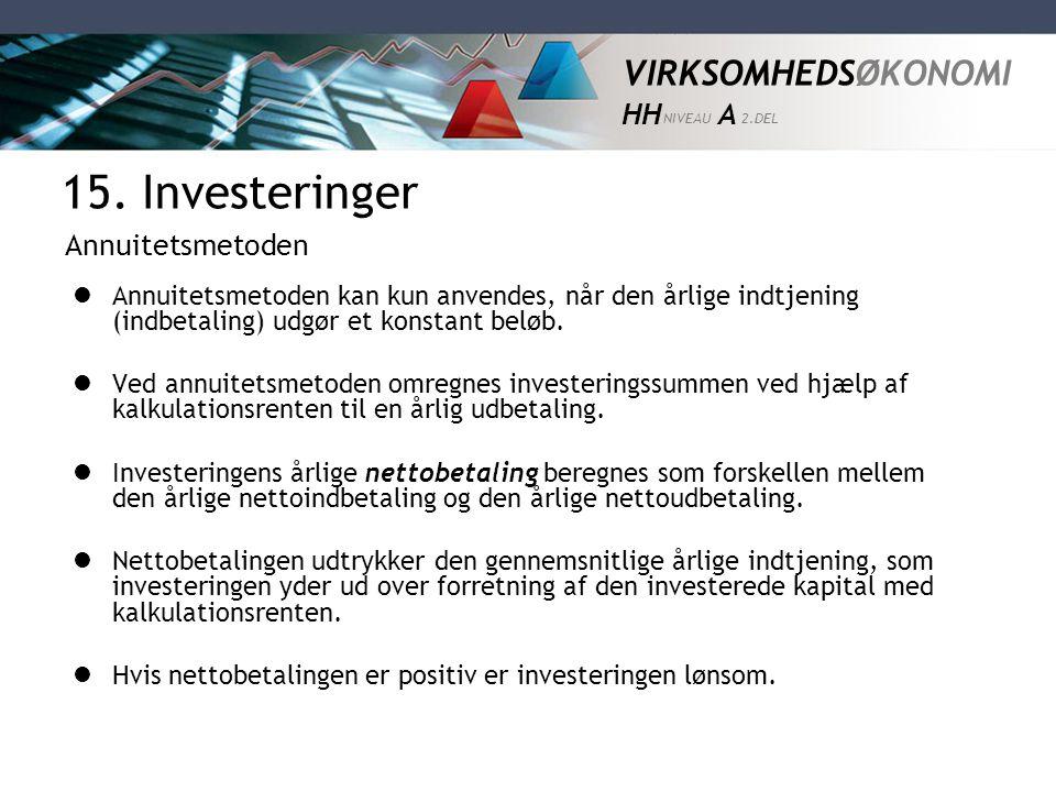 15. Investeringer Annuitetsmetoden
