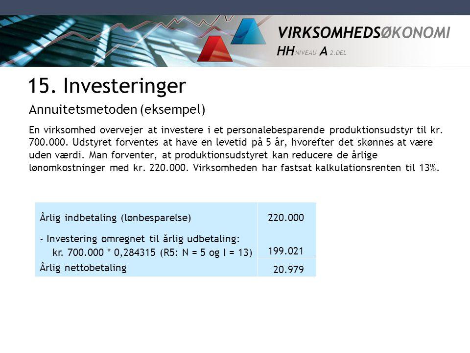 15. Investeringer Annuitetsmetoden (eksempel)