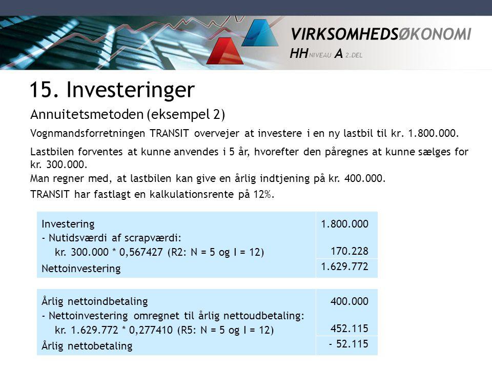 15. Investeringer Annuitetsmetoden (eksempel 2)