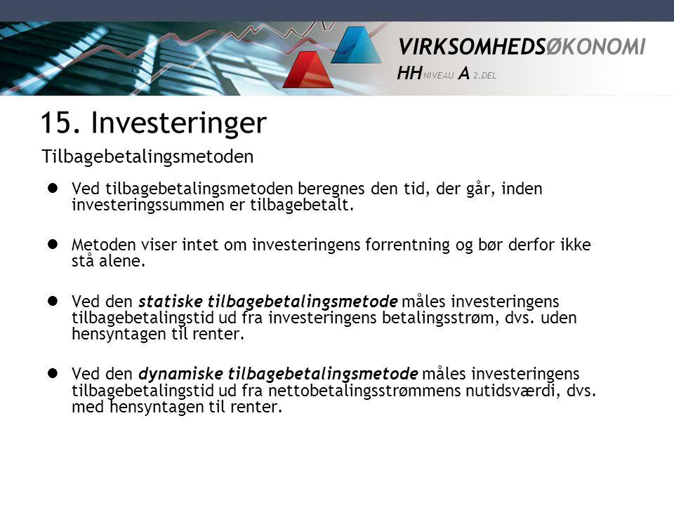 15. Investeringer Tilbagebetalingsmetoden