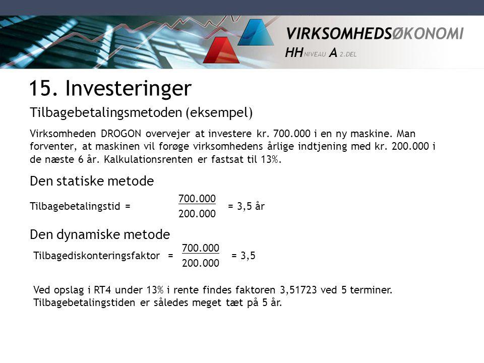 15. Investeringer Tilbagebetalingsmetoden (eksempel)
