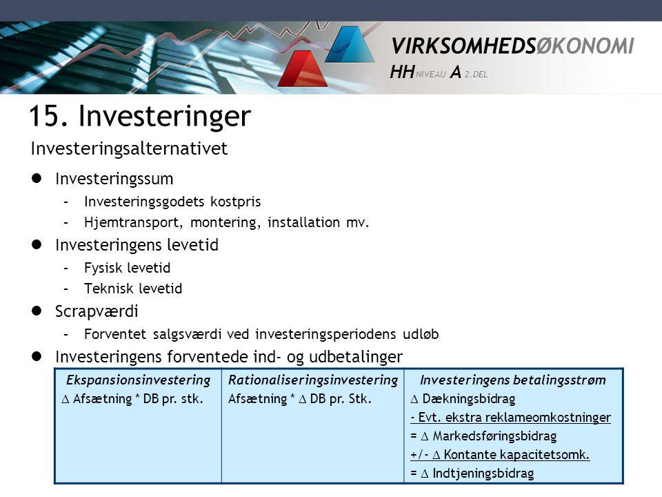 15. Investeringer Investeringsalternativet Investeringssum