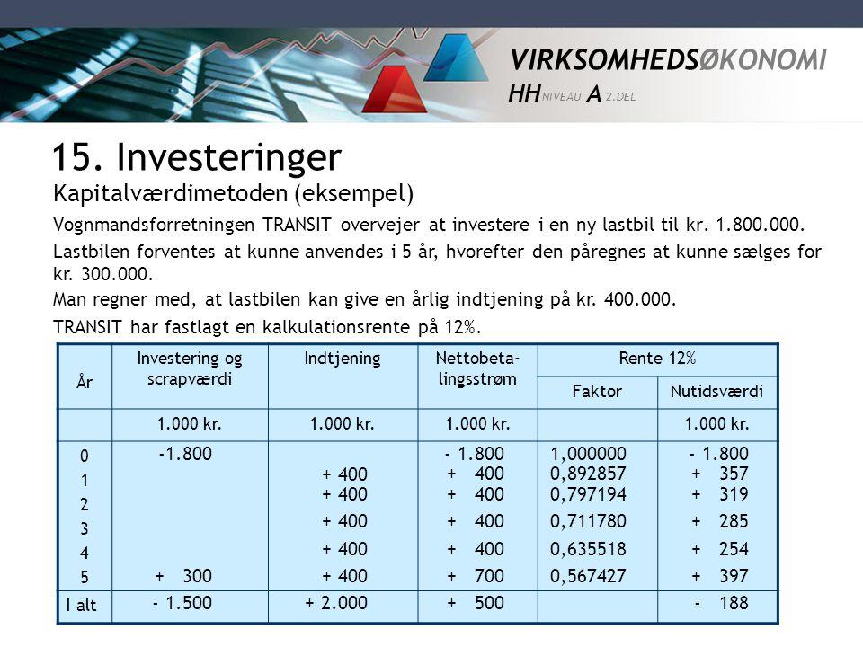 15. Investeringer Kapitalværdimetoden (eksempel)