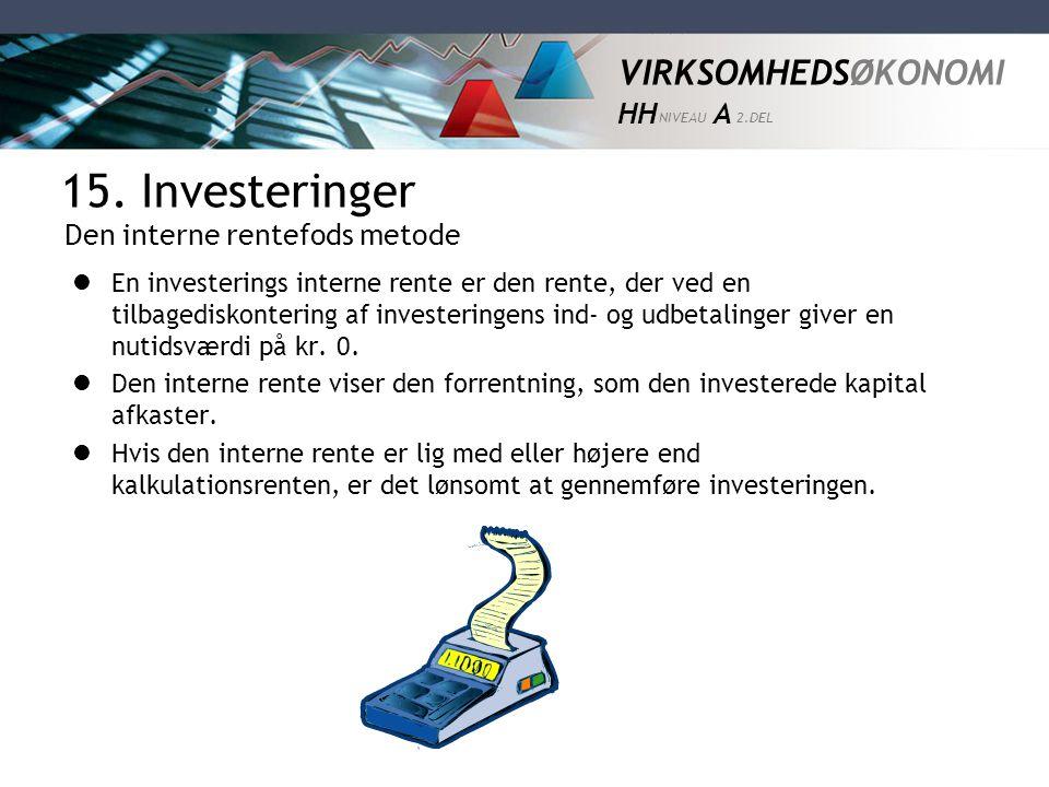 15. Investeringer Den interne rentefods metode