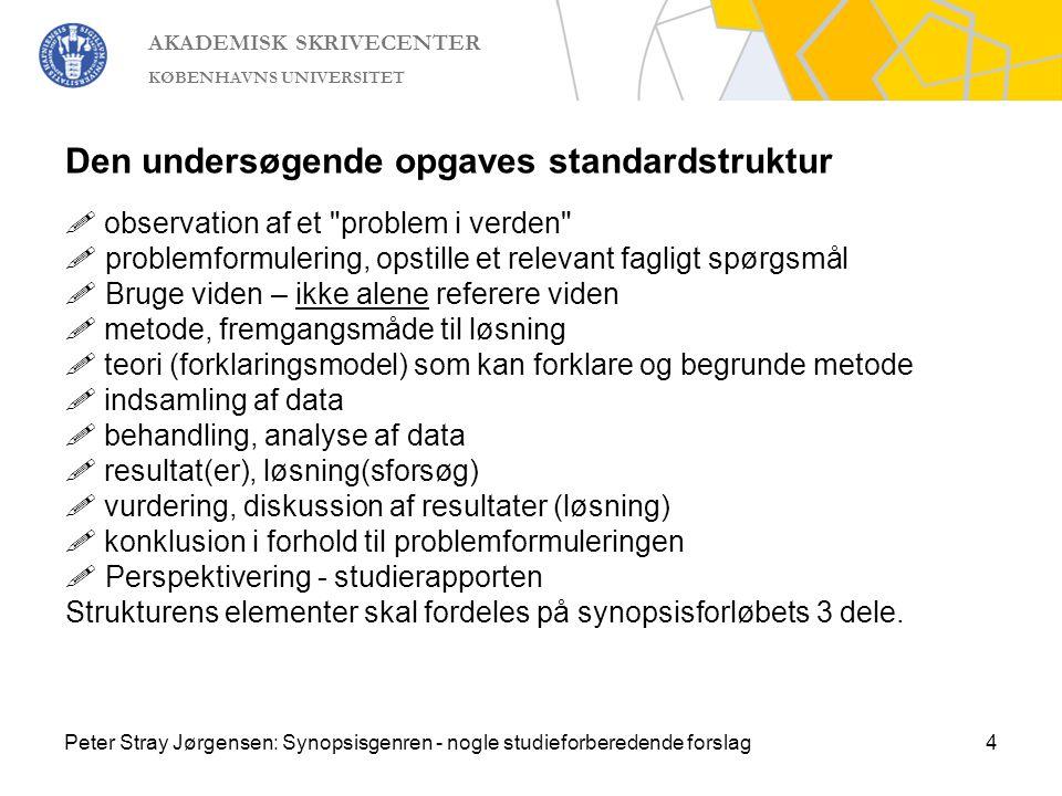Den undersøgende opgaves standardstruktur