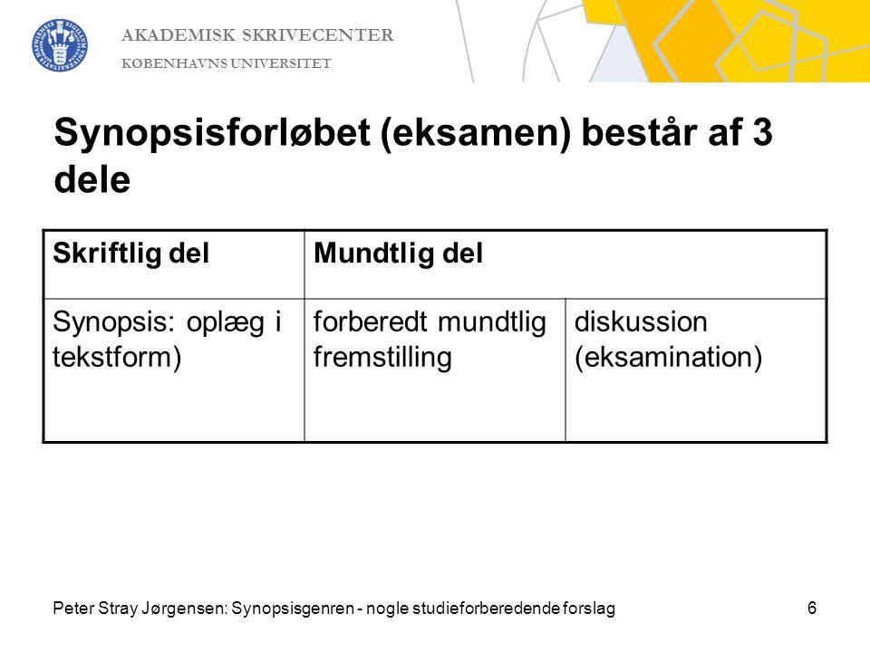Synopsisforløbet (eksamen) består af 3 dele