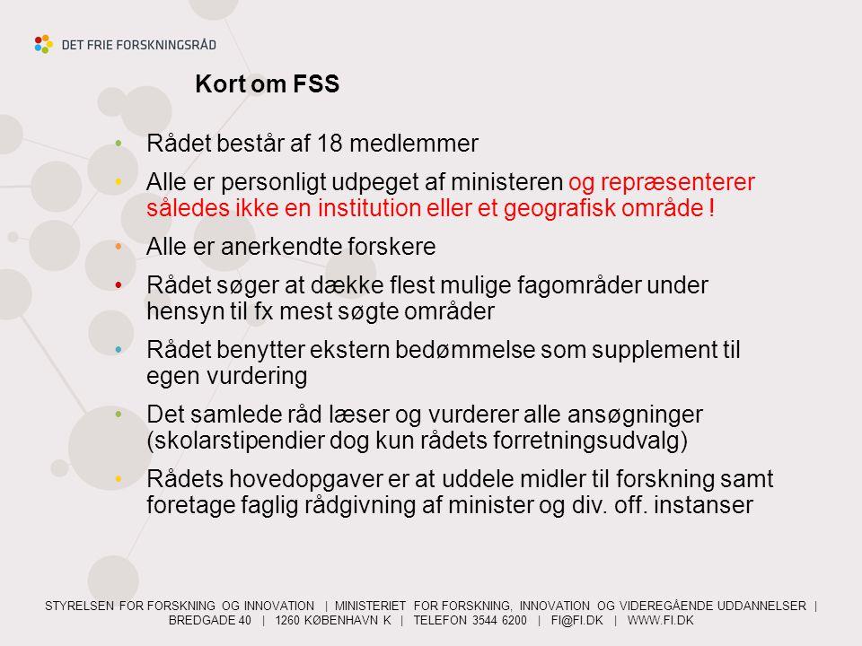 Kort om FSS Rådet består af 18 medlemmer.