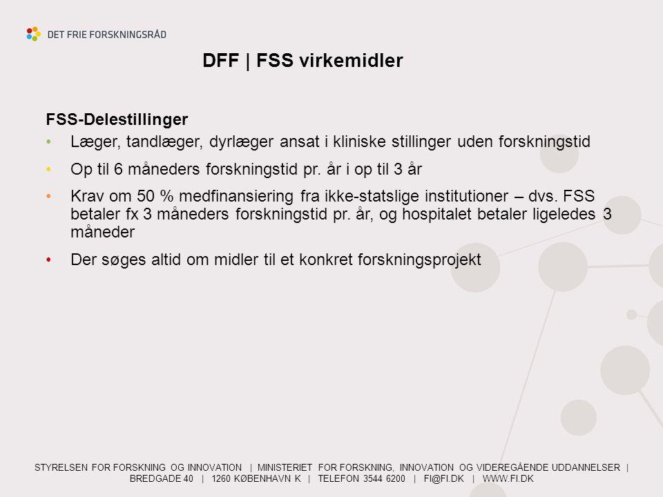 DFF   FSS virkemidler FSS-Delestillinger