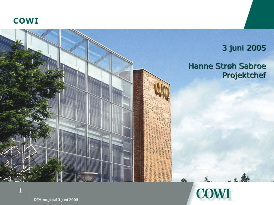 COWI præsentation COWI 3 juni 2005 Hanne Strøh Sabroe Projektchef