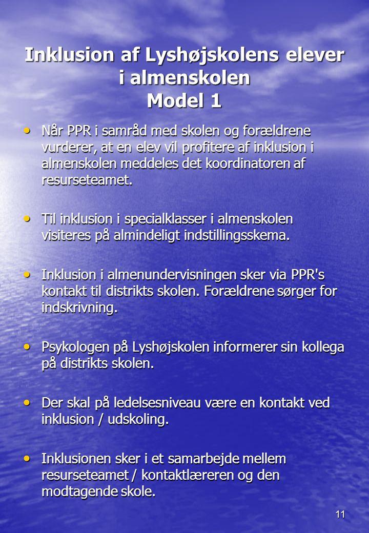 Inklusion af Lyshøjskolens elever i almenskolen Model 1