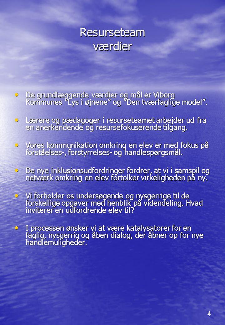 Resurseteam værdier De grundlæggende værdier og mål er Viborg Kommunes Lys i øjnene og Den tværfaglige model .