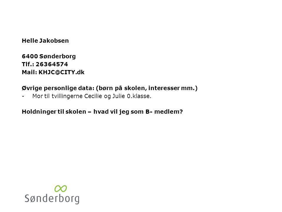Henrik Nielsen 6400 Sønderborg. Tlf.:20435363. Mail: henrik@funbowling.dk. Øvrige personlige data: (børn på skolen, interesser mm.)