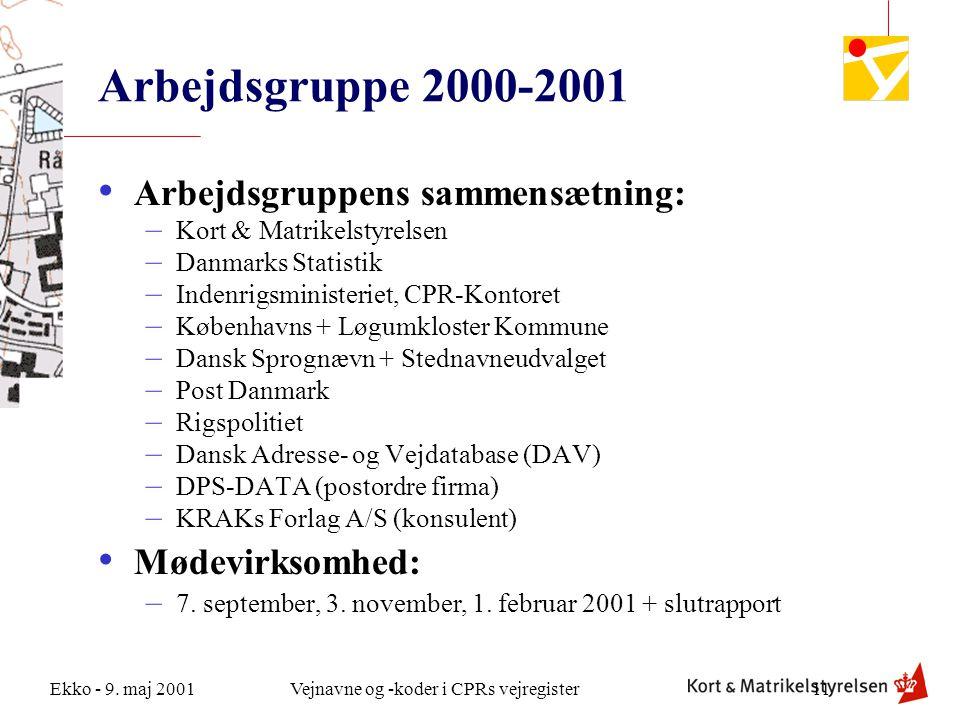 Arbejdsgruppe 2000-2001 Arbejdsgruppens sammensætning: Mødevirksomhed: