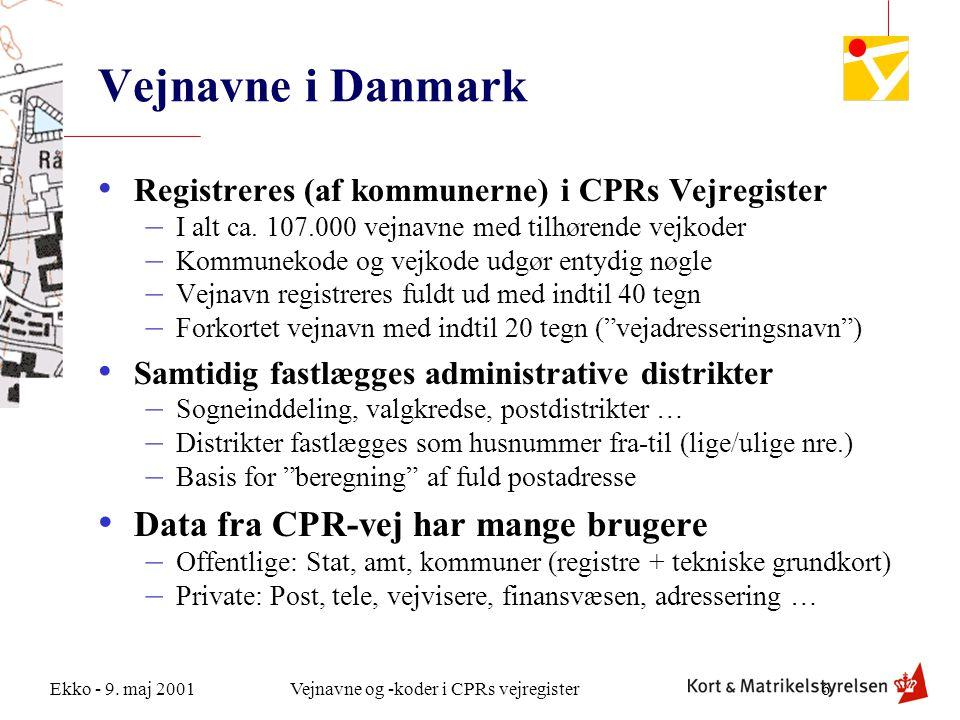 Vejnavne i Danmark Data fra CPR-vej har mange brugere
