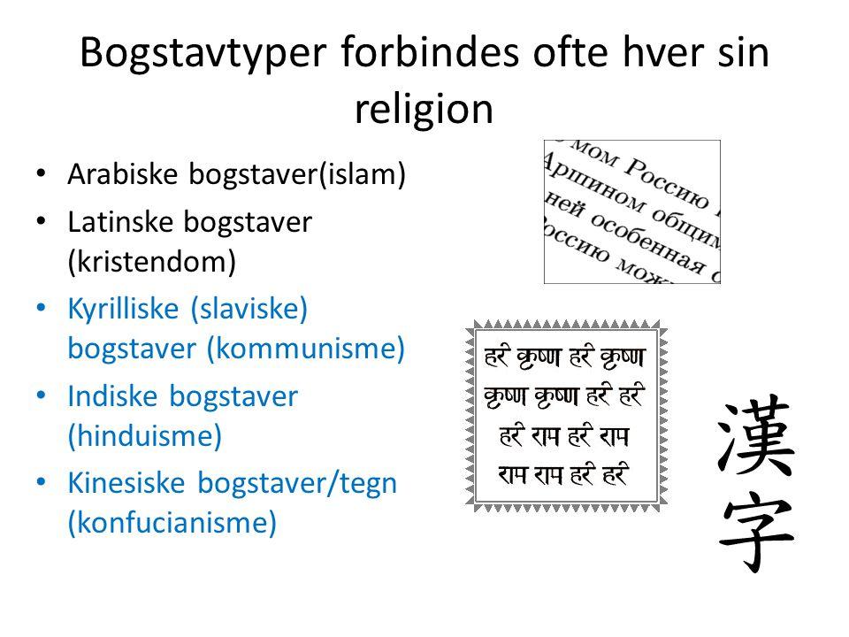 Bogstavtyper forbindes ofte hver sin religion