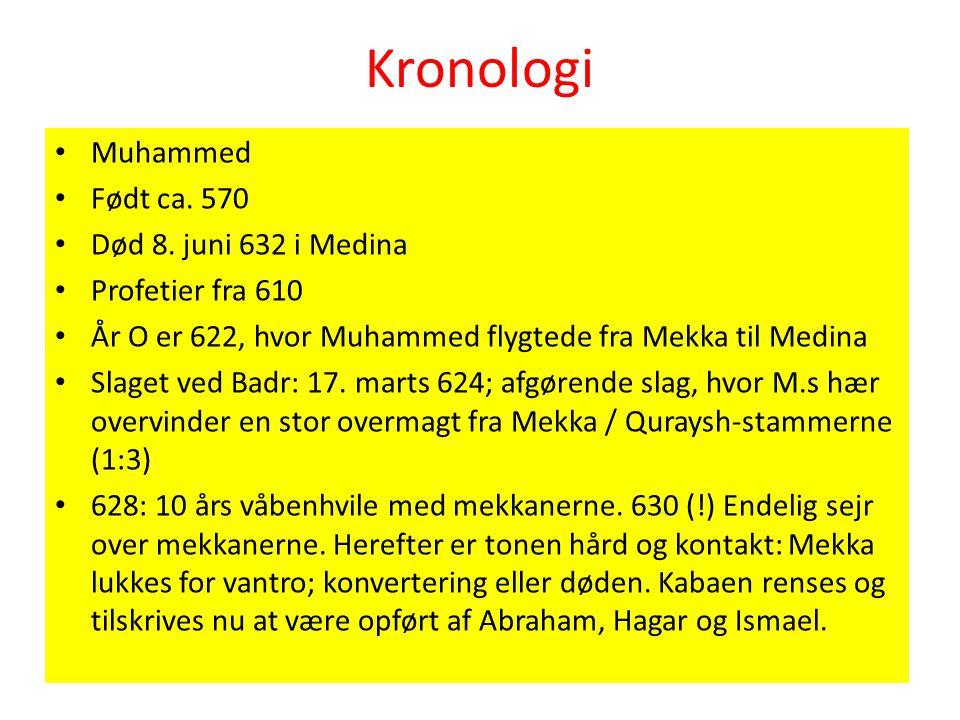 Kronologi Muhammed Født ca. 570 Død 8. juni 632 i Medina