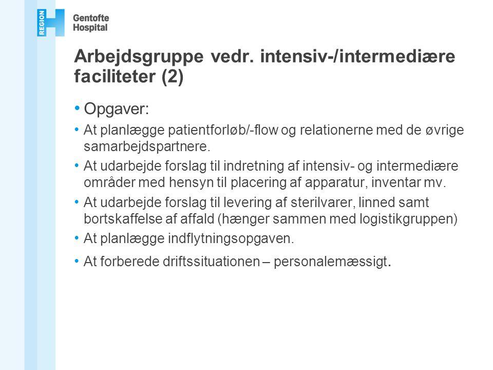 Arbejdsgruppe vedr. intensiv-/intermediære faciliteter (2)