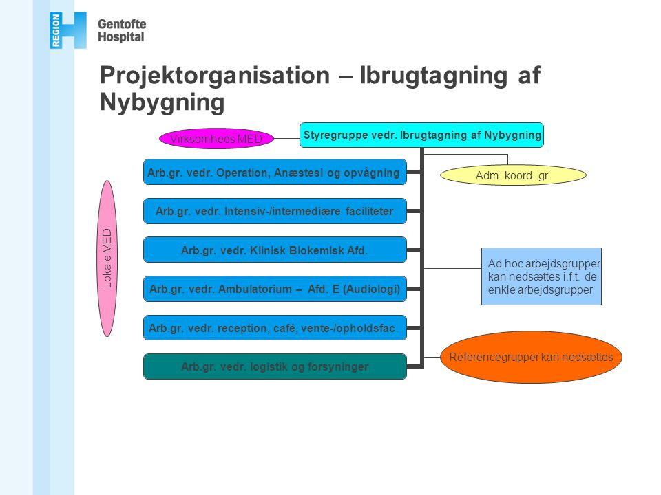 Projektorganisation – Ibrugtagning af Nybygning