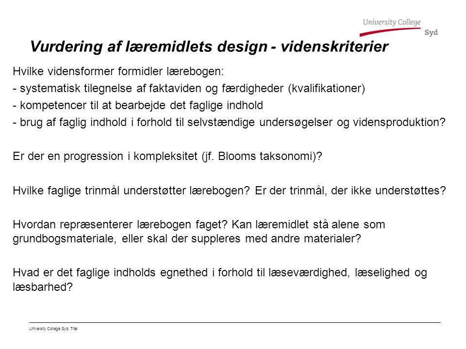 Vurdering af læremidlets design - videnskriterier