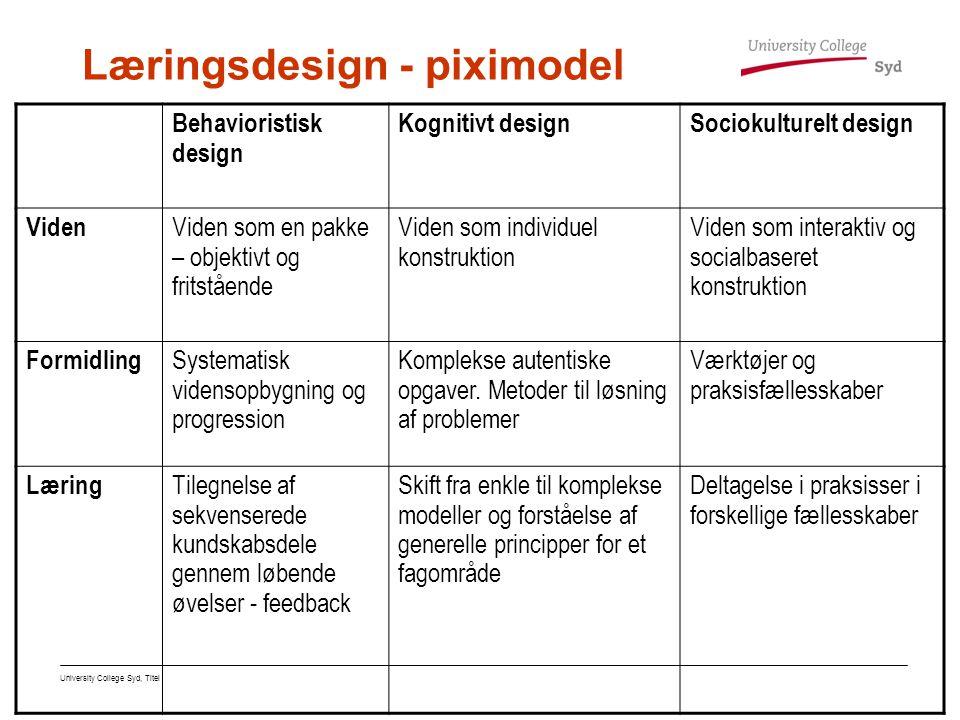 Læringsdesign - piximodel