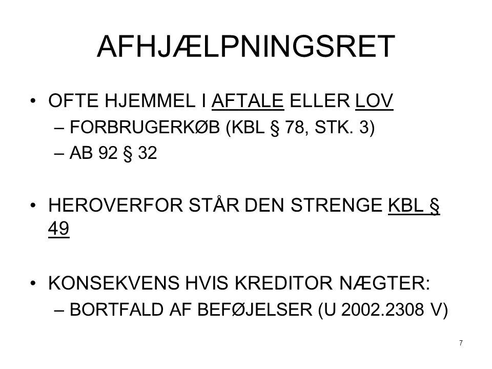 AFHJÆLPNINGSRET OFTE HJEMMEL I AFTALE ELLER LOV