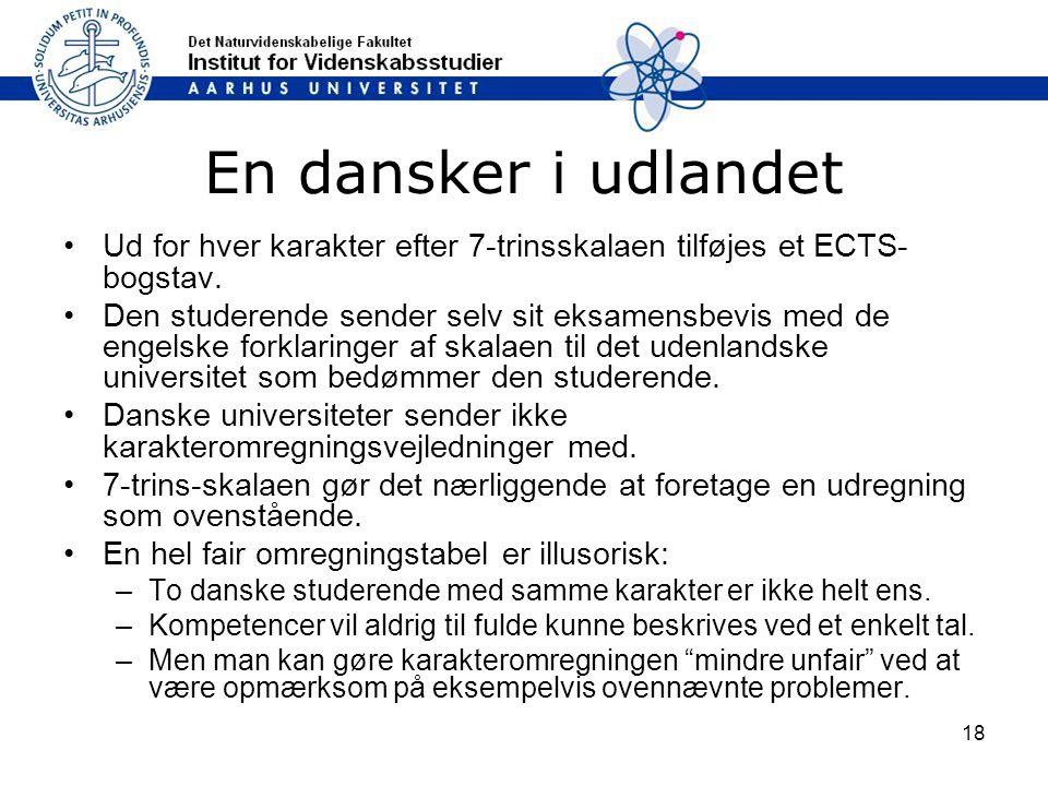 En dansker i udlandet Ud for hver karakter efter 7‑trinsskalaen tilføjes et ECTS-bogstav.