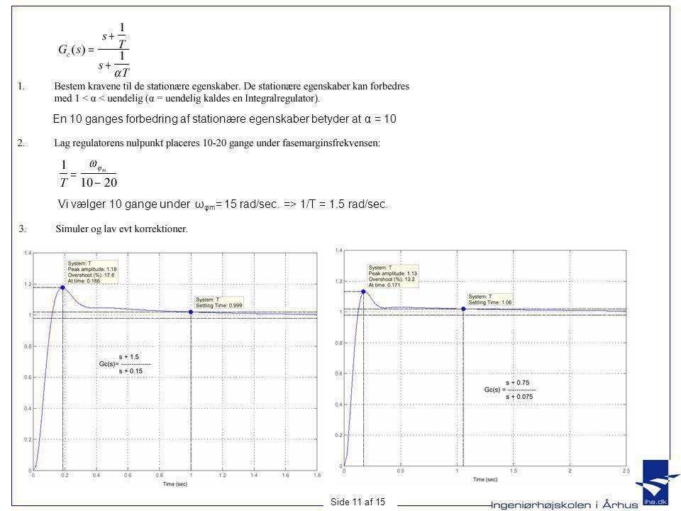 En 10 ganges forbedring af stationære egenskaber betyder at α = 10