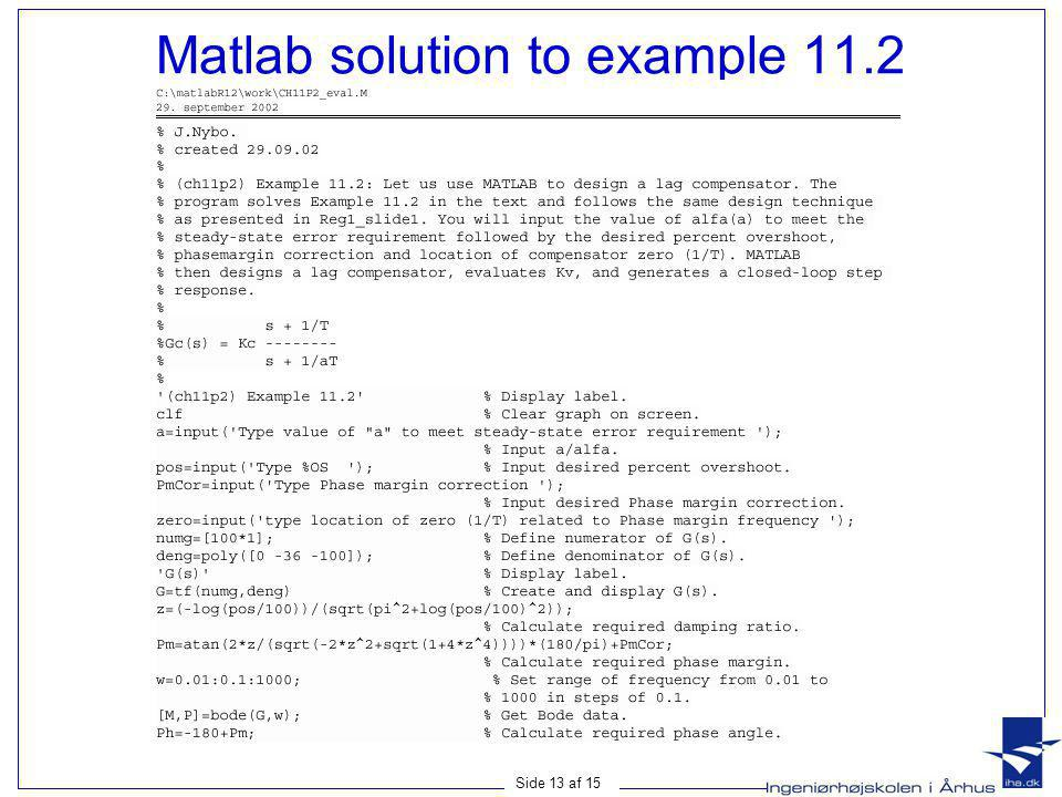 Matlab solution to example 11.2