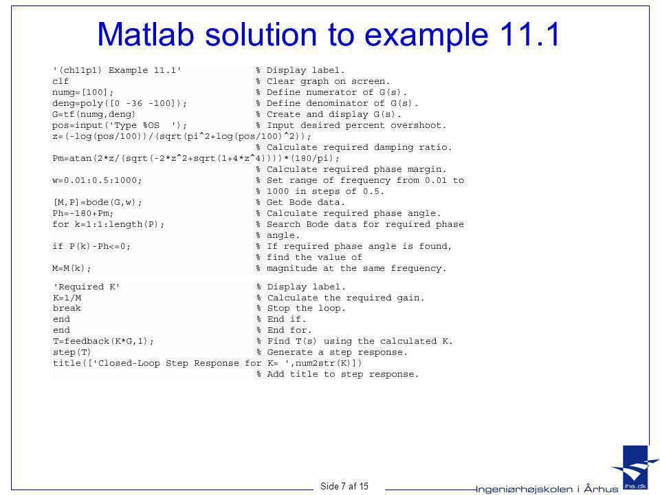 Matlab solution to example 11.1