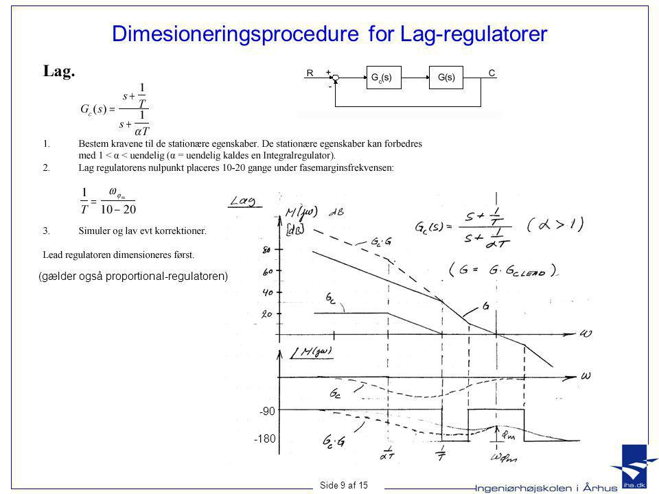Dimesioneringsprocedure for Lag-regulatorer