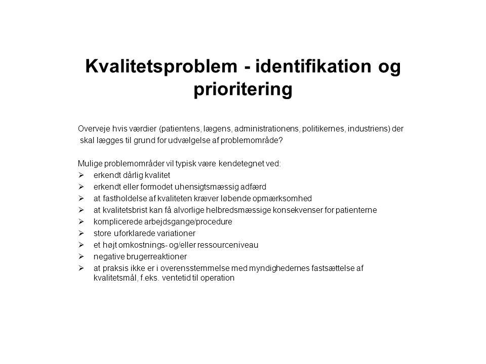 Kvalitetsproblem - identifikation og prioritering