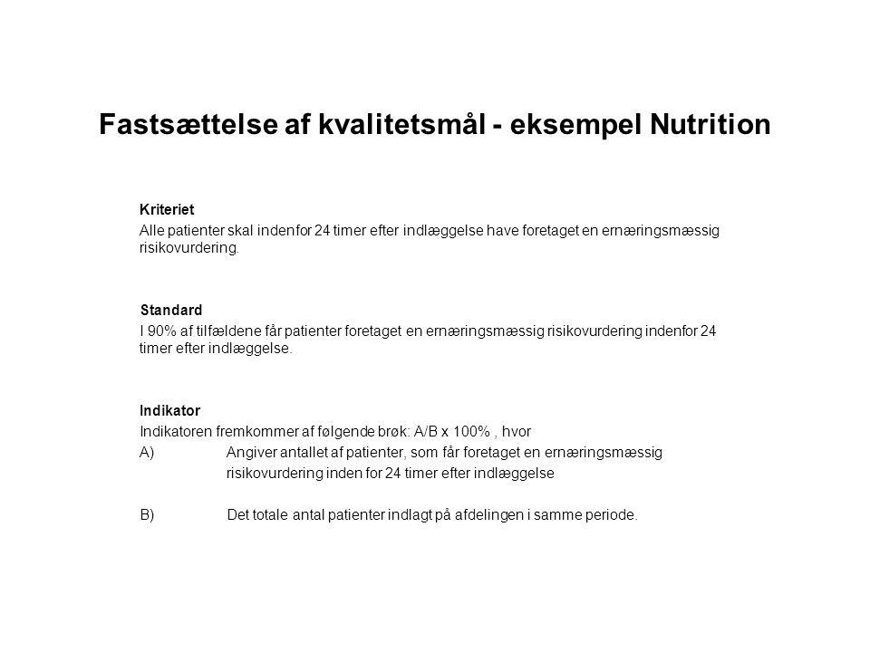 Fastsættelse af kvalitetsmål - eksempel Nutrition