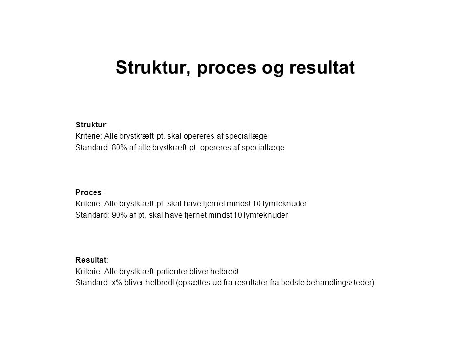Struktur, proces og resultat