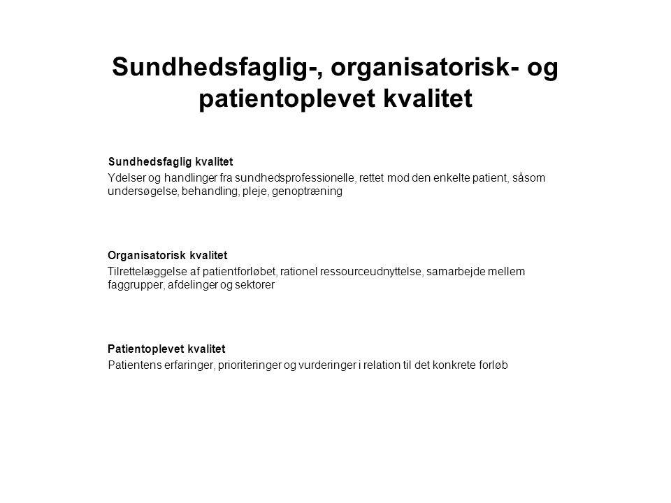 Sundhedsfaglig-, organisatorisk- og patientoplevet kvalitet