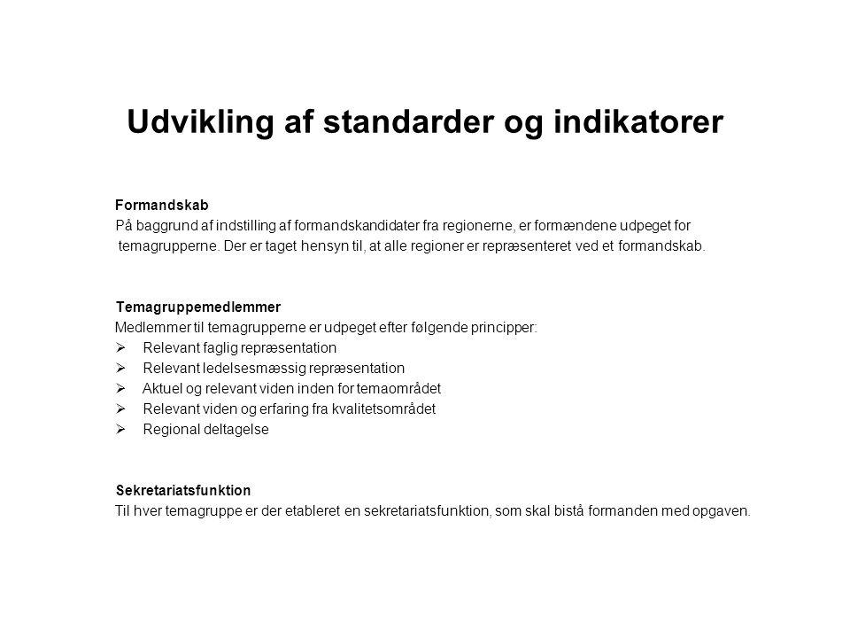 Udvikling af standarder og indikatorer