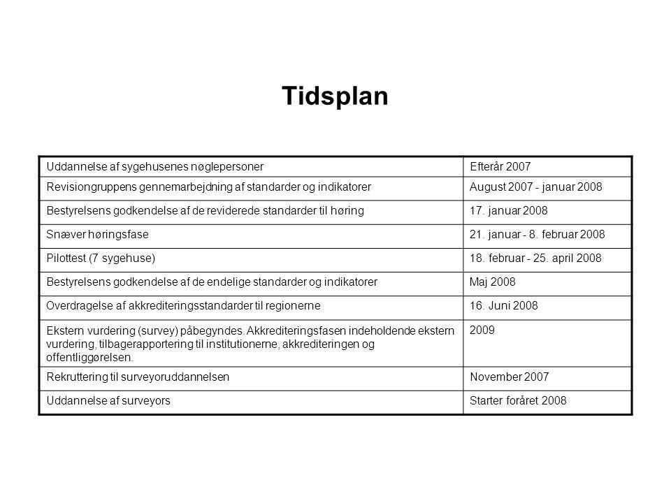 Tidsplan Uddannelse af sygehusenes nøglepersoner Efterår 2007