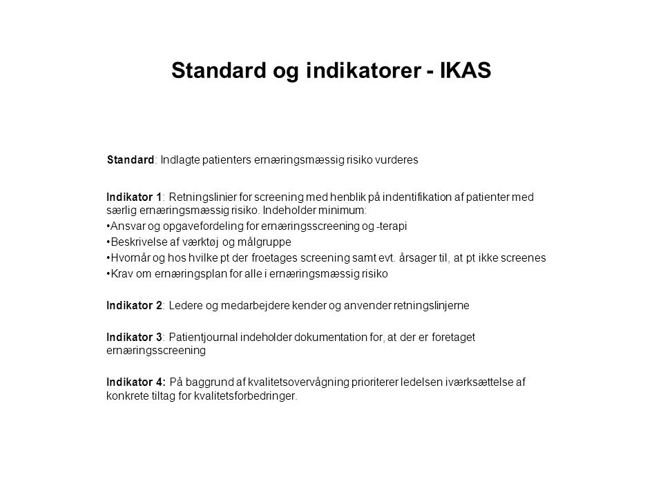 Standard og indikatorer - IKAS