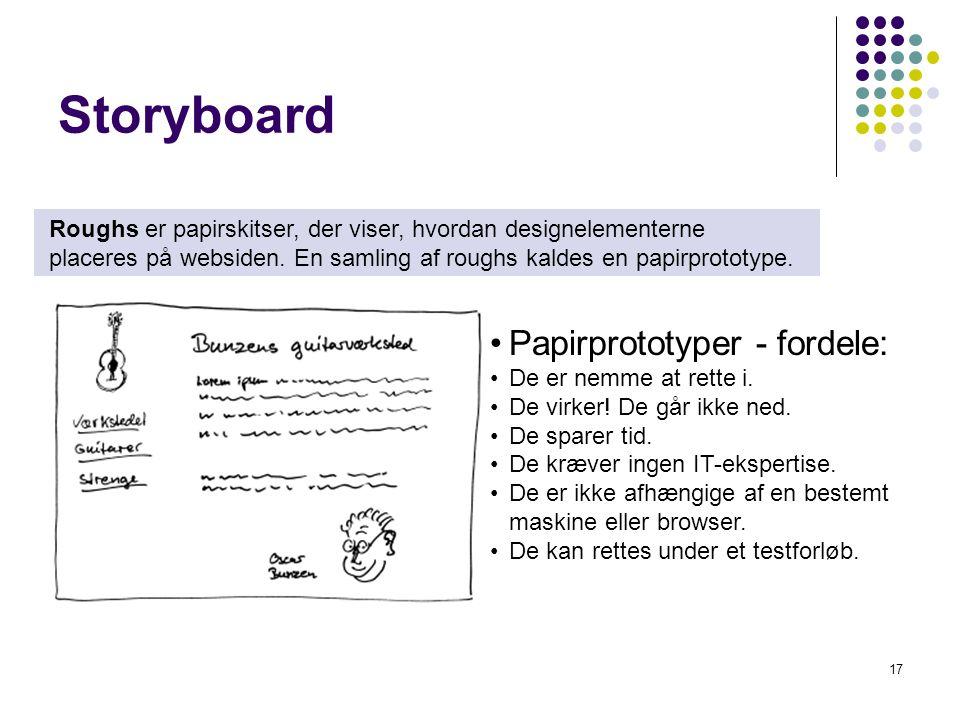 Storyboard Papirprototyper - fordele: