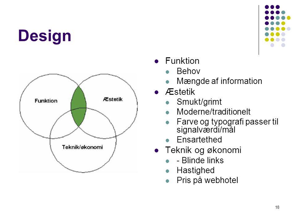 Design Funktion Æstetik Teknik og økonomi Behov Mængde af information