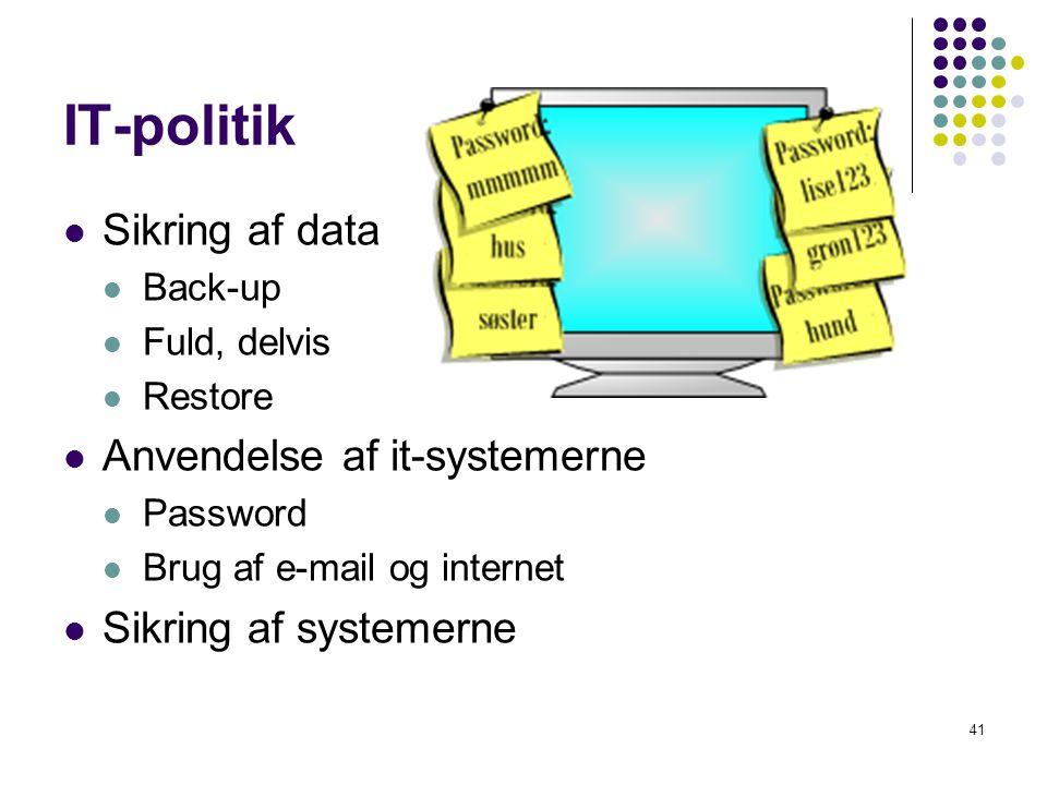 IT-politik Sikring af data Anvendelse af it-systemerne