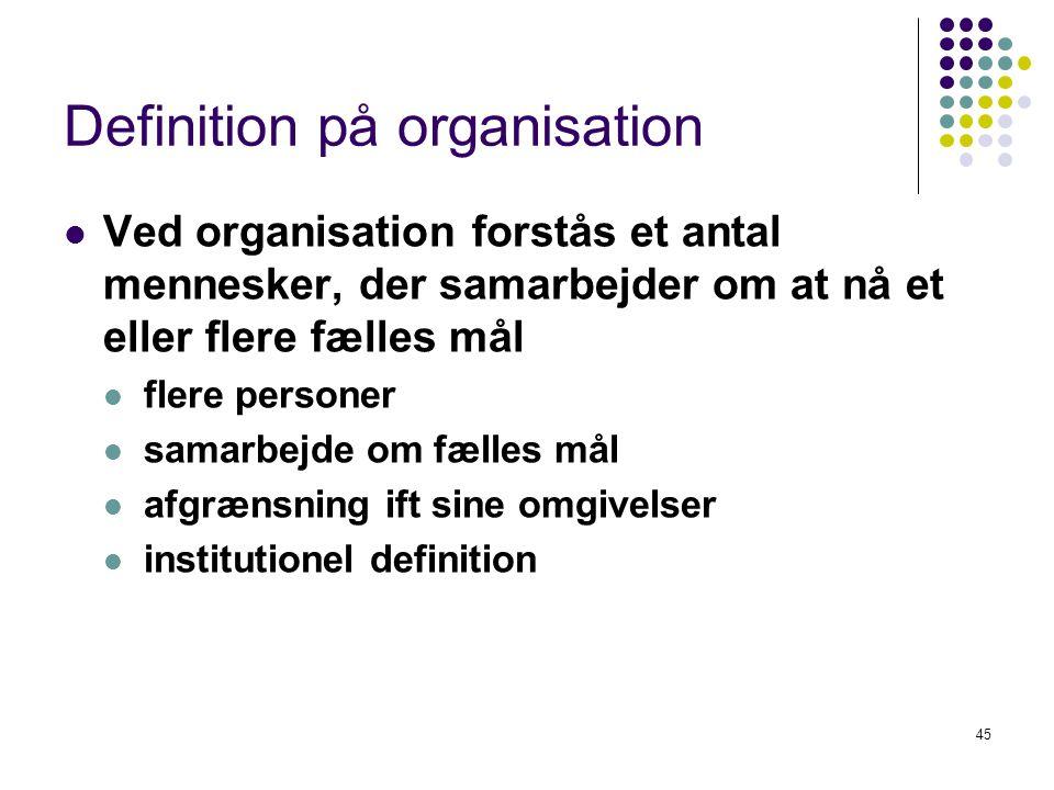 Definition på organisation