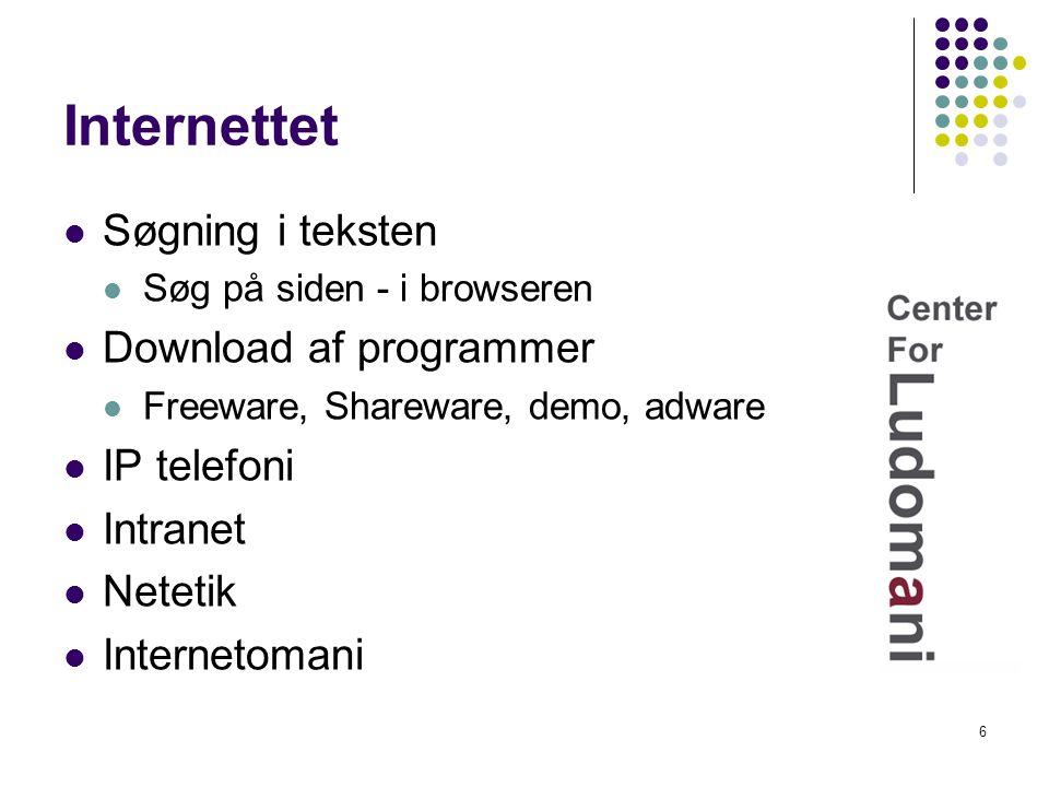 Internettet Søgning i teksten Download af programmer IP telefoni