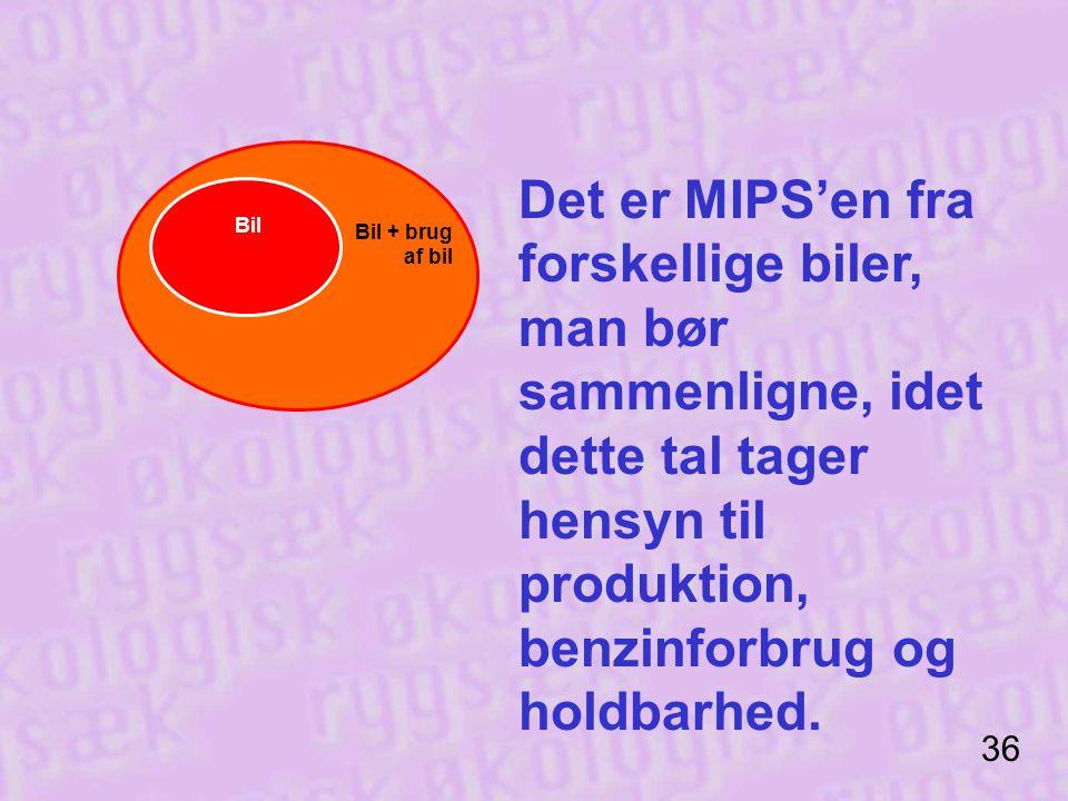 Det er MIPS'en fra forskellige biler, man bør sammenligne, idet dette tal tager hensyn til produktion, benzinforbrug og holdbarhed.